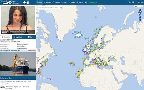 Screenshot of Home Page Maps & Directions Page vesselfinder.com - VesselFinder : Free AIS Ship Tracking of Marine Traffic - captured Sept. 19, 2014