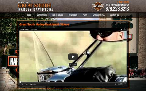 Screenshot of Press Page greatsouthhd.com - Videos | Great South Harley-Davidson® | Newnan Georgia - captured Oct. 3, 2014
