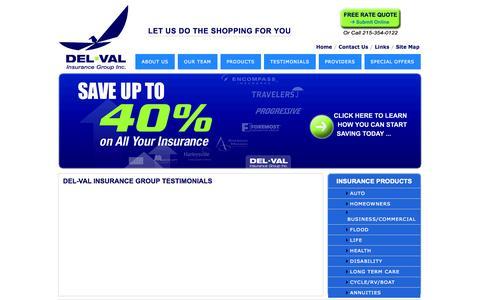 Screenshot of Testimonials Page dvigi.com - Del-Val Insurance Group - Testimonials - captured Oct. 5, 2014