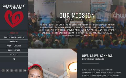 Screenshot of About Page heartworkcamp.com - About Us - Catholic HEART Workcamp - captured Sept. 25, 2018