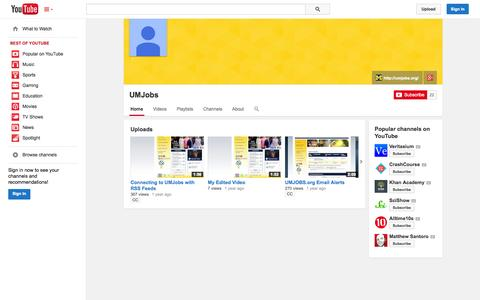 Screenshot of YouTube Page youtube.com - UMJobs  - YouTube - captured Oct. 23, 2014