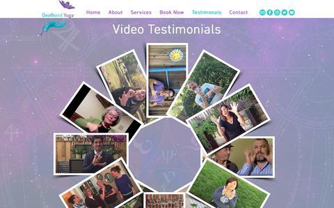 Screenshot of Testimonials Page deafhoodyoga.com - Deafhood Yoga | Testimonials - captured Oct. 8, 2018