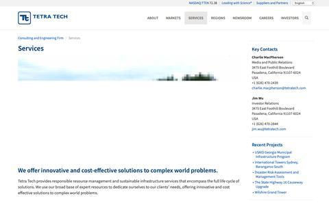 Screenshot of Services Page tetratech.com - Services - Tetra Tech - captured June 14, 2019