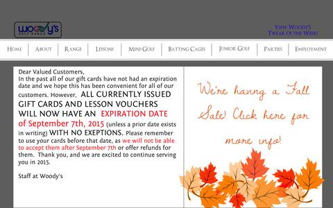 Screenshot of Home Page woodysgolf.com - Woody's Golf Range | Announcements - captured Oct. 9, 2014