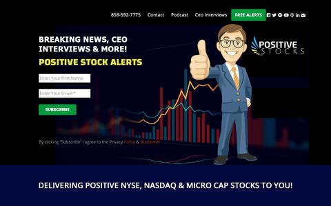 Screenshot of Home Page positivestocks.com - Stock Alerts - captured Nov. 15, 2018