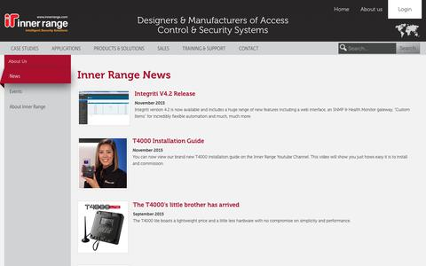 Screenshot of Press Page innerrange.com - Inner Range Current News Feed - captured Jan. 8, 2016