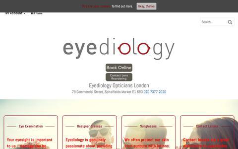 Screenshot of Home Page eyediologyopticians.co.uk - Eyediology Opticians London | Sunglasses Designer Glasses | Eye Tests - captured July 23, 2018