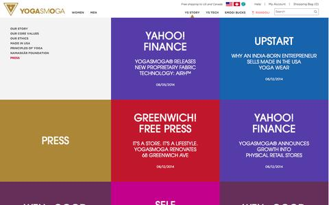 Screenshot of Press Page yogasmoga.com - Press | YOGASMOGA in the news | YOGASMOGA - captured Oct. 30, 2014