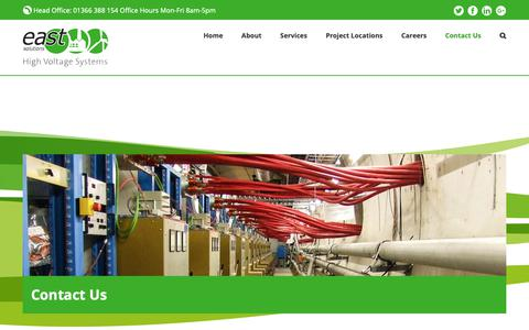 Screenshot of Contact Page east-solutions.co.uk - Contact East Solutions - High Voltage Engineers | East Solutions - captured Sept. 28, 2018