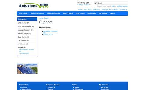 Screenshot of Support Page solutionsinn.com.pk - Support - captured Sept. 19, 2014