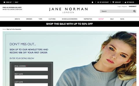 Screenshot of Signup Page janenorman.co.uk - Sign Up To Our Newsletter  | Jane Norman - captured Jan. 20, 2016