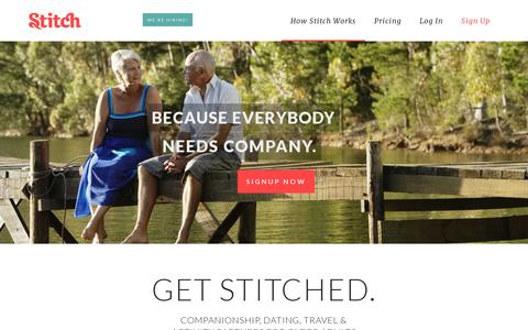 Screenshot of Home Page stitch.net - Stitch - Companionship, Dating, Activities, Travel for Older Adults - captured July 11, 2014