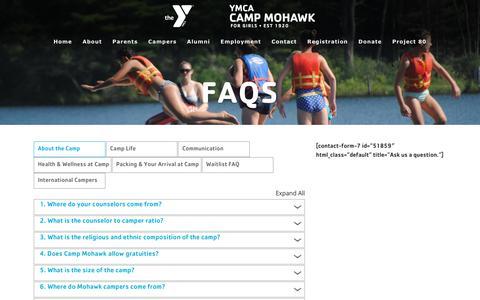 Screenshot of FAQ Page campmohawk.org - FAQs – YMCA Camp Mohawk - captured Dec. 16, 2018