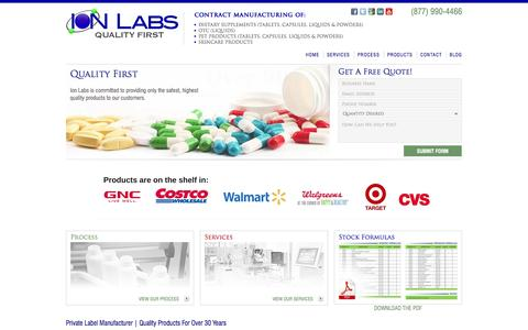 Screenshot of Home Page ionlabs.com - Ion Labs | Contract Manufacturer | Vitamin & Supplemet Manufacturer - captured Feb. 11, 2016