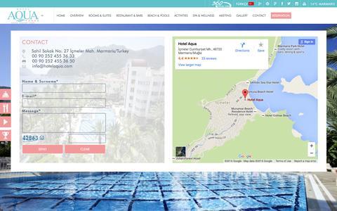 Screenshot of Contact Page hotelaqua.com - CONTACT – Aqua Hotel Icmeler Marmaris - captured March 12, 2016