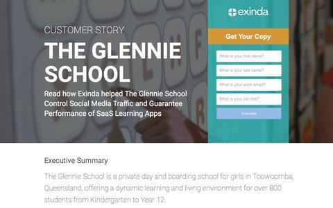 Screenshot of Landing Page exinda.com - Exinda helps the Glennie School Control Social Media Traffic - captured June 21, 2017