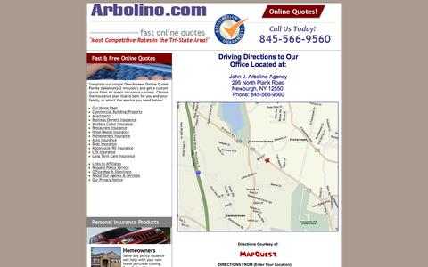 Screenshot of Maps & Directions Page arbolino.com - Map and Driving Directions to Arbolino Insurance Agency - captured Feb. 11, 2016