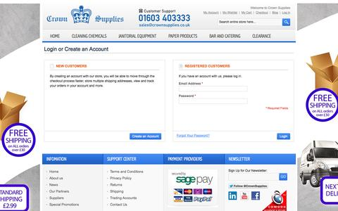 Screenshot of Login Page crownsupplies.co.uk - Customer Login - captured Oct. 3, 2014