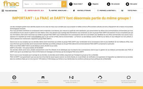 Screenshot of fnac.com - Fnac et Darty - 2 enseignes dans le même groupe - Fnac.com - captured Aug. 30, 2017