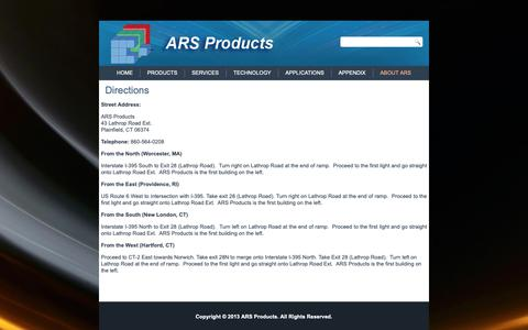 Screenshot of Maps & Directions Page arsproducts.com - Directions | ARS Products - captured Oct. 2, 2018