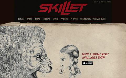 Screenshot of Home Page skillet.com - Skillet Official Website: Awake And Remixed Music, Videos, Photos, Lyrics, Tour Dates, Forums - captured Sept. 19, 2014