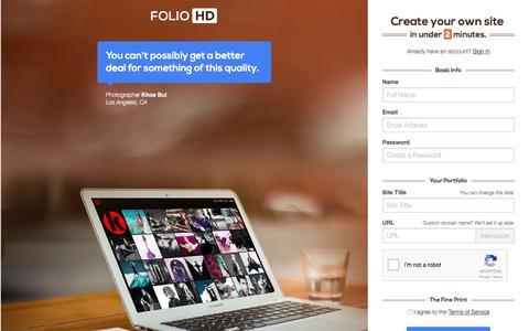 Screenshot of Signup Page foliohd.com - Online Portfolio for Photographers, Models, Architects + more - FolioHD - captured Jan. 14, 2016