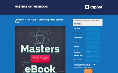 Screenshot of Landing Page kapost.com - Masters of the eBook | Kapost - captured March 14, 2016