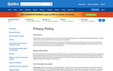 Screenshot of Privacy Page quidco.com - Quidco - The UK's #1 Cashback Site - captured April 9, 2018