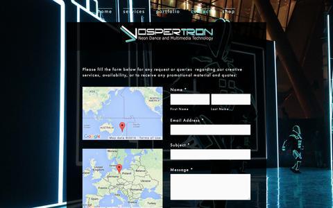 Screenshot of Contact Page vospertron.net - Contact — Vospertron - captured Feb. 15, 2016