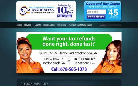 Screenshot of Home Page About Page Contact Page Services Page therccgroup.com - RCC & Associates Tax and Insurance Agency - captured Oct. 6, 2014
