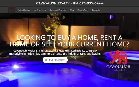 Screenshot of Home Page cavanaughrealty.com - Cavanaugh Realty - Ph: 623-935-6444 – Tues-Fri 10:30am to 5pm - captured Oct. 2, 2014