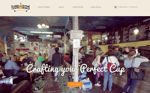 Screenshot of Home Page philzcoffee.com - Philz Coffee - captured Feb. 13, 2016