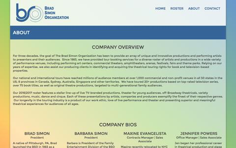 Screenshot of About Page bsoinc.com - About | Brad Simon Organization - captured Feb. 15, 2016
