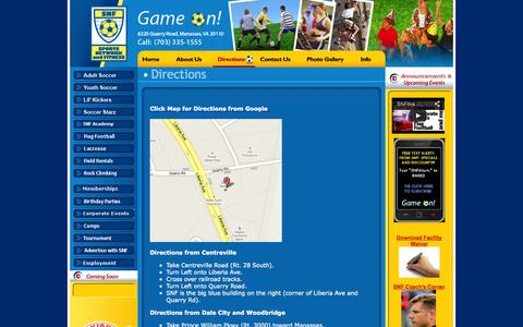 Screenshot of Maps & Directions Page snflive.com - Directions - SNFlive.com Northern Virginia Sports and Fun Center – Indoor Soccer Lacrosse Fields - captured Oct. 6, 2014
