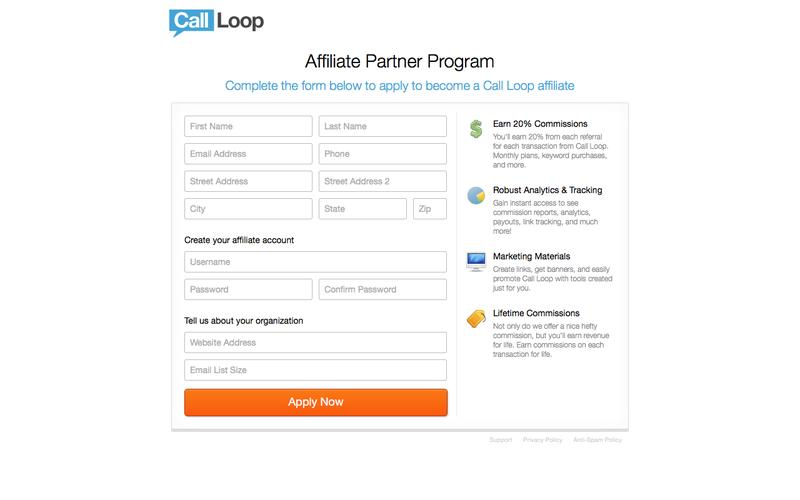 Affiliate Program Application | Call Loop