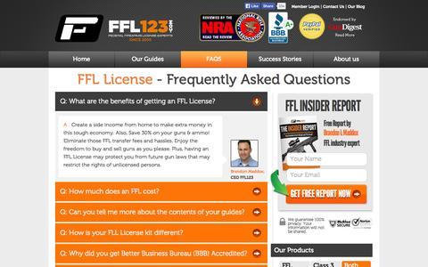 Screenshot of FAQ Page ffl123.com - FFL License | How to get a Federal Firearms License | FFL123.com - captured Sept. 23, 2014