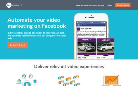 Screenshot of Home Page indiv.io - Indivio | Video Marketing Automation Software for Facebook - captured Nov. 26, 2016