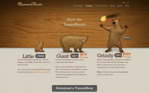 Screenshot of Pricing Page tunnelbear.com - Pricing   TunnelBear - captured Sept. 23, 2014