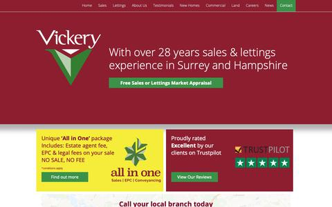 Screenshot of Home Page vickery.co.uk - Estate Agents in Camberley, Farnborough, Fleet, Frimley, Lightwater, Westend, Bagshot - captured Nov. 17, 2018
