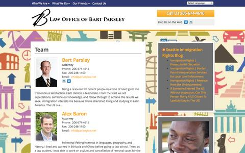 Screenshot of Team Page parsleylaw.net - Team - Law Office of Bart Parsley - captured Oct. 2, 2014