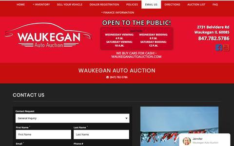 Screenshot of Contact Page waukeganautoauction.com - Contact Waukegan Auto Auction Dealership Waukegan, IL 60085 - captured Dec. 14, 2018