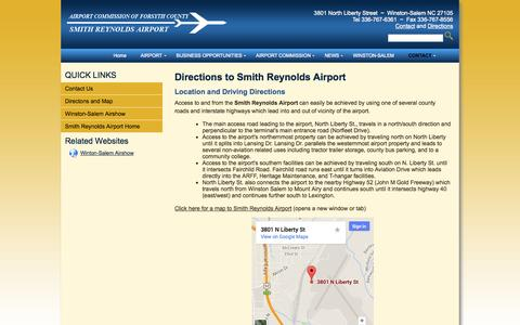 Screenshot of Maps & Directions Page smithreynolds.org - Directions to Smith Reynolds Airport - captured Oct. 4, 2014