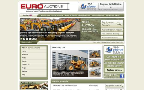 Screenshot of Home Page euroauctions.com - Buy New & Used Construction Equipment at Auction, Sell Heavy Equipment at Auction - Euro Auctions - captured Sept. 26, 2014