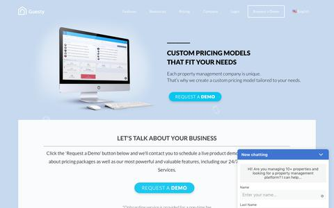 Screenshot of Pricing Page guesty.com - Guesty Pricing - Guesty - captured July 12, 2019