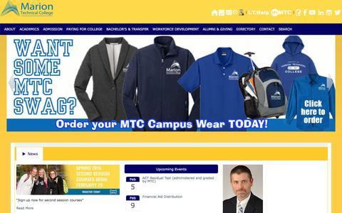 Screenshot of Home Page mtc.edu - Marion Technical College - captured Feb. 4, 2016