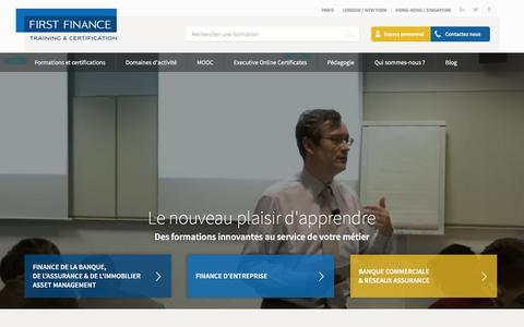 Screenshot of Home Page first-finance.fr - Training & Certification - FIRST FINANCE France - captured July 4, 2016