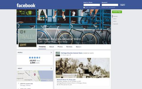 Screenshot of Facebook Page facebook.com - Heritage Bicycles General Store - Chicago, IL - Cafe, Coffee Shop | Facebook - captured Oct. 22, 2014