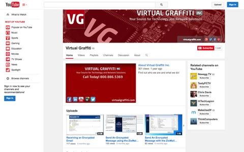 Screenshot of YouTube Page youtube.com - Virtual Graffiti  - YouTube - captured Oct. 25, 2014