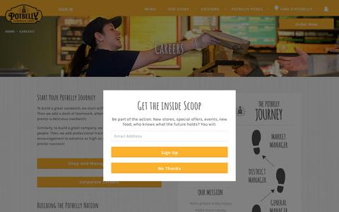 Screenshot of Jobs Page potbelly.com - Careers | Potbelly Sandwich Shop - captured Aug. 11, 2017