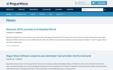 Screenshot of Press Page roguewave.com - News   Rogue Wave Software - captured March 11, 2018